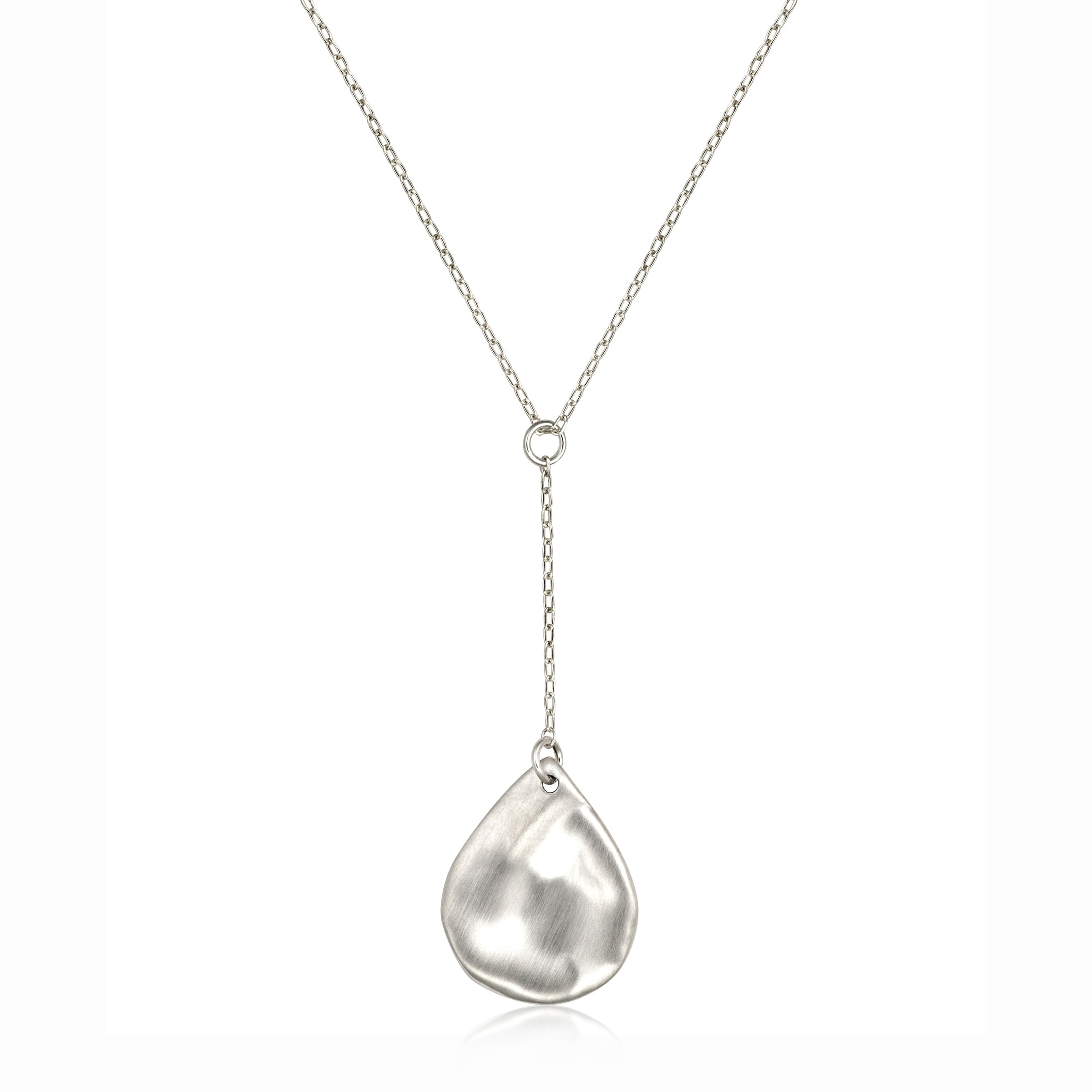 Matte Teardrop Lariat Style Necklace, Sterling Silver