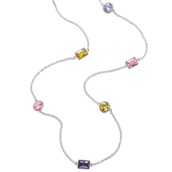 Multi-Color CZ Station Necklace, Sterling Silver