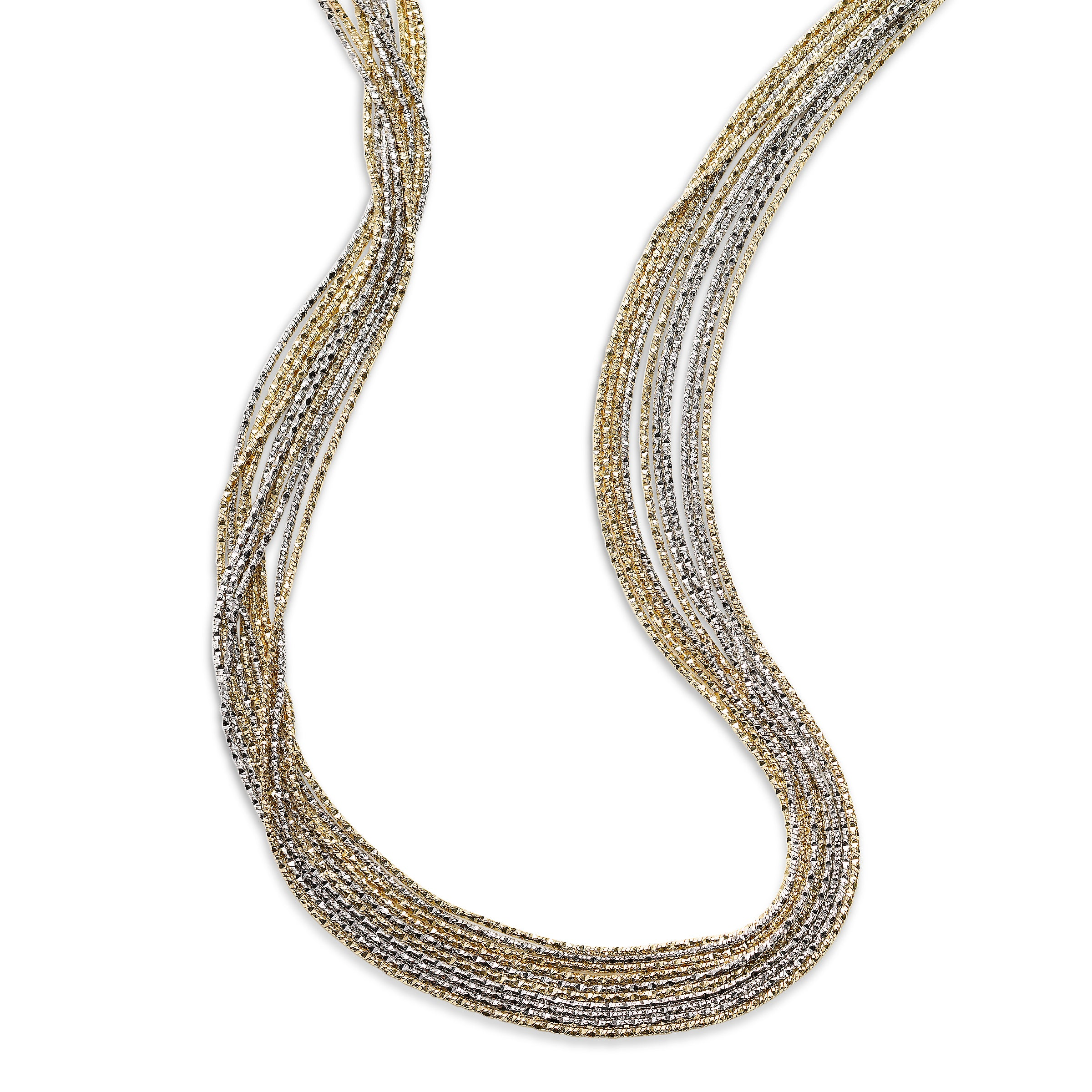 Two Tone Strand Necklace, Silver with Platinum and 18K Yellow Gold Plating