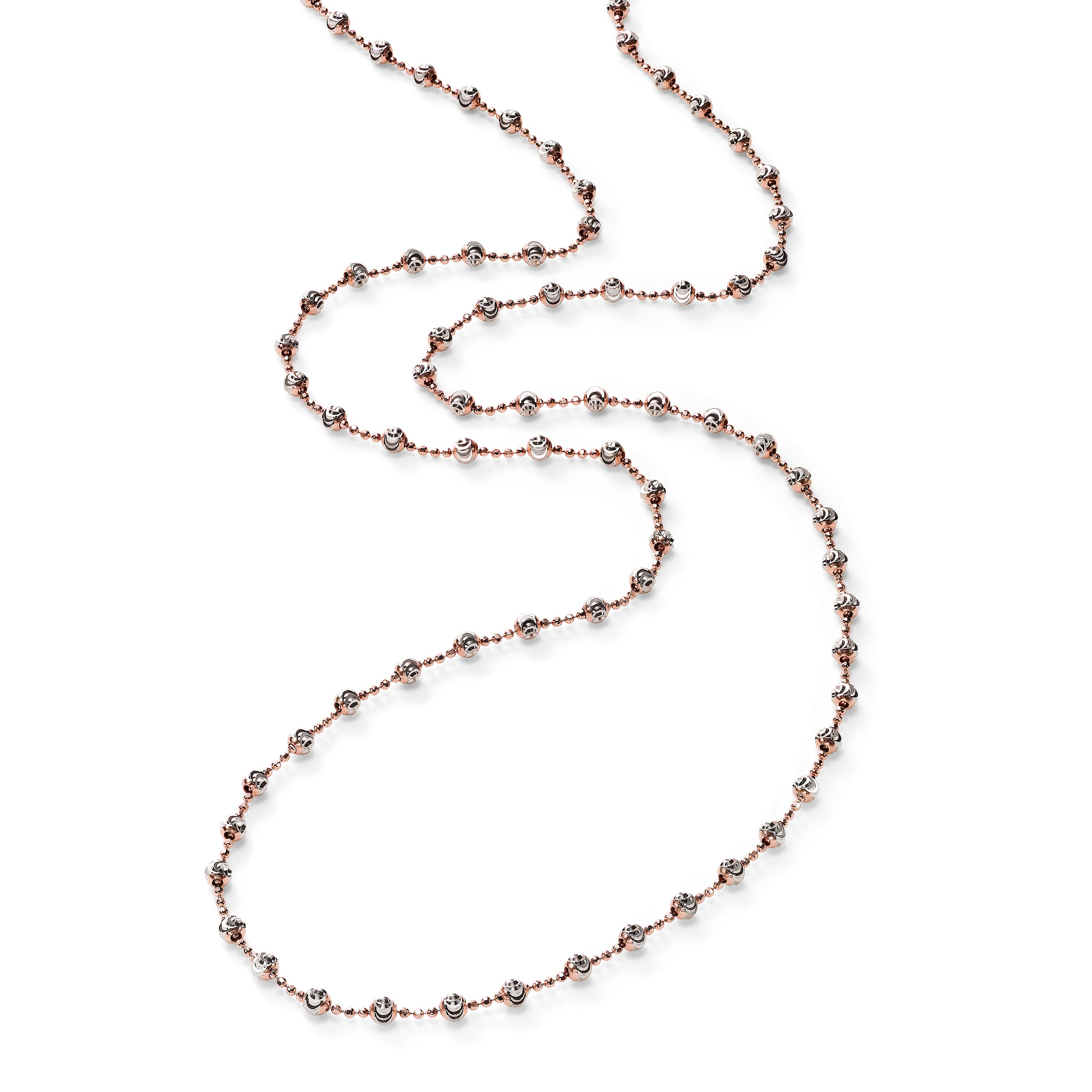 Round Bead Station Necklace, Sterling with Rose Rhodium Plating