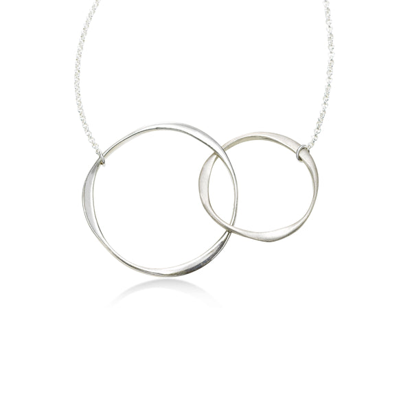 Interlocking Circles Necklace, Sterling Silver