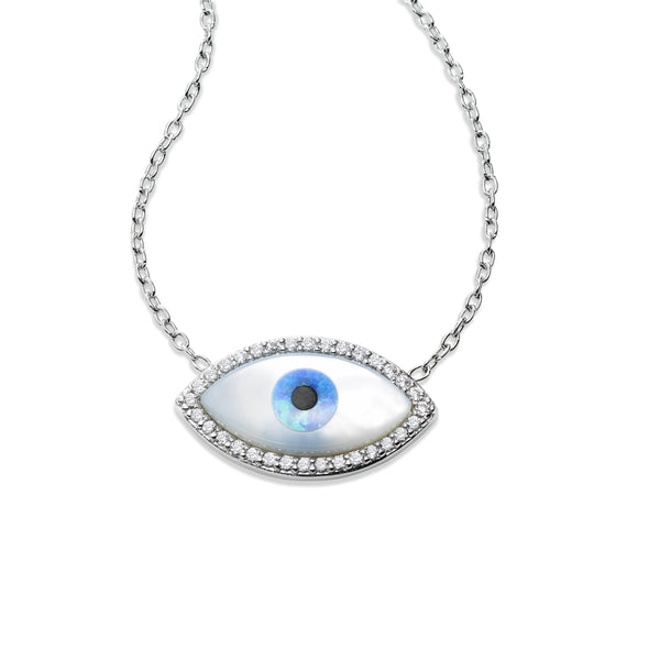 Mother of Pearl and CZ Evil Eye Necklace, Sterling Silver