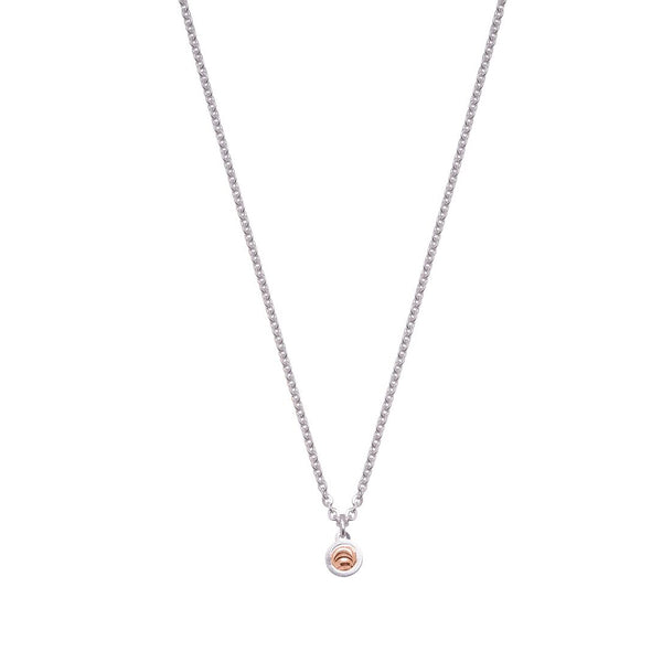 Single Drop Element Pendant, Sterling Silver with 18K Rose Gold Plating