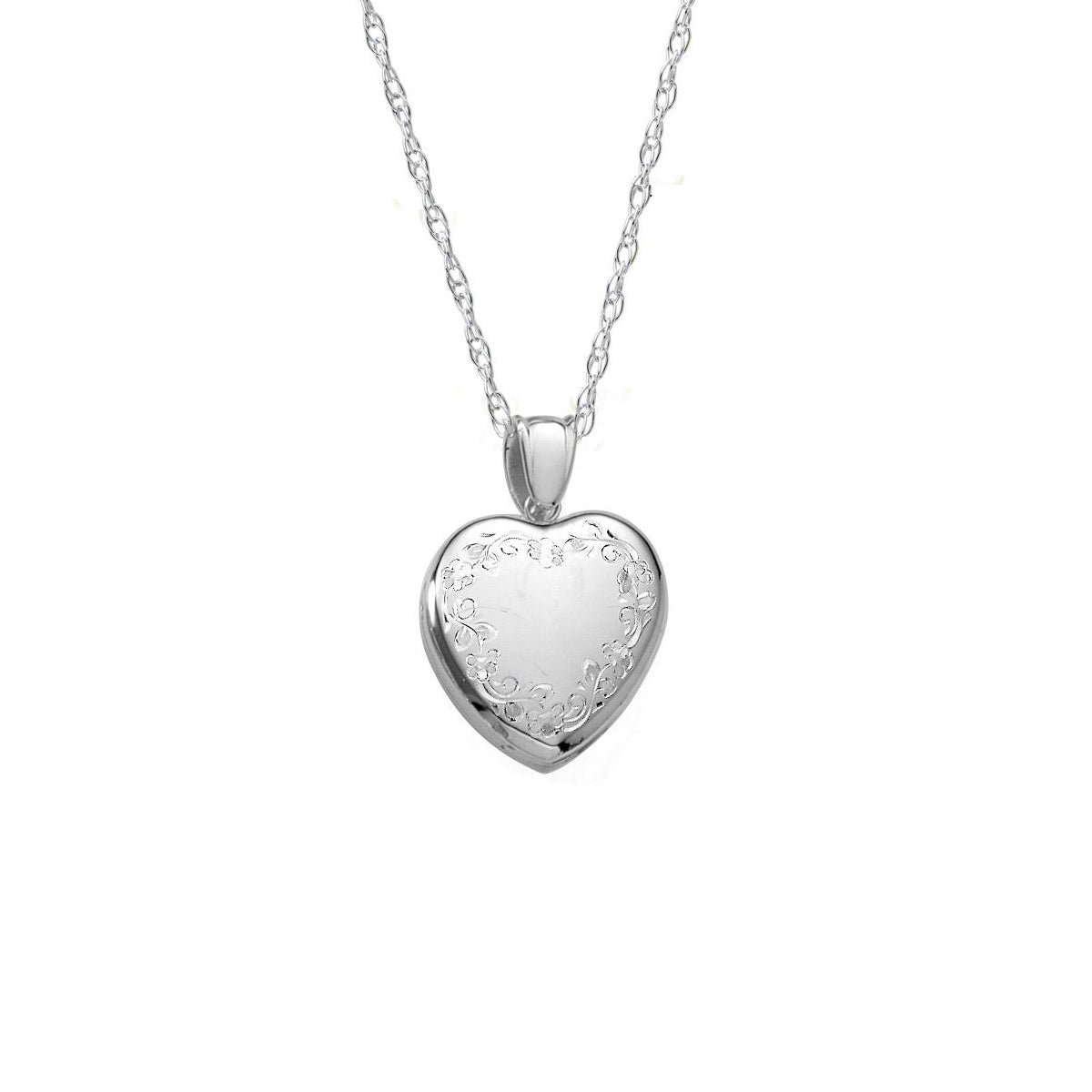 Hand Engraved Heart Locket, Sterling Silver