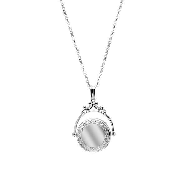 Embossed Spinning Style Locket, Sterling Silver