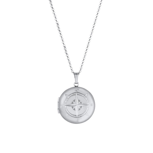 Engraved Compass Locket, Sterling Silver