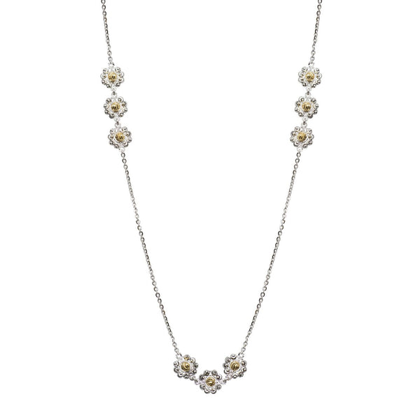 Two Tone Daisy Necklace, Sterling with 18K Yellow Gold Plating