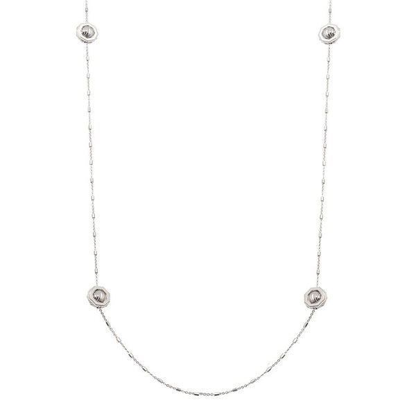 Six Station Necklace, Sterling Silver with Rhodium Plating