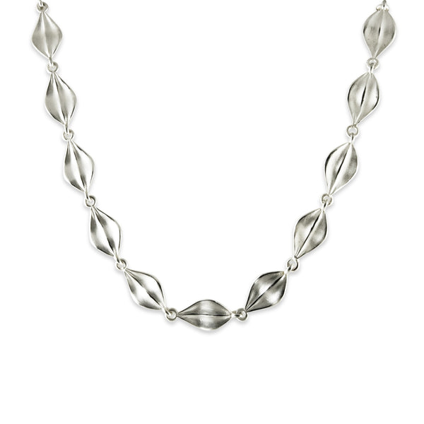 Matte Leaf Link Necklace, Sterling Silver