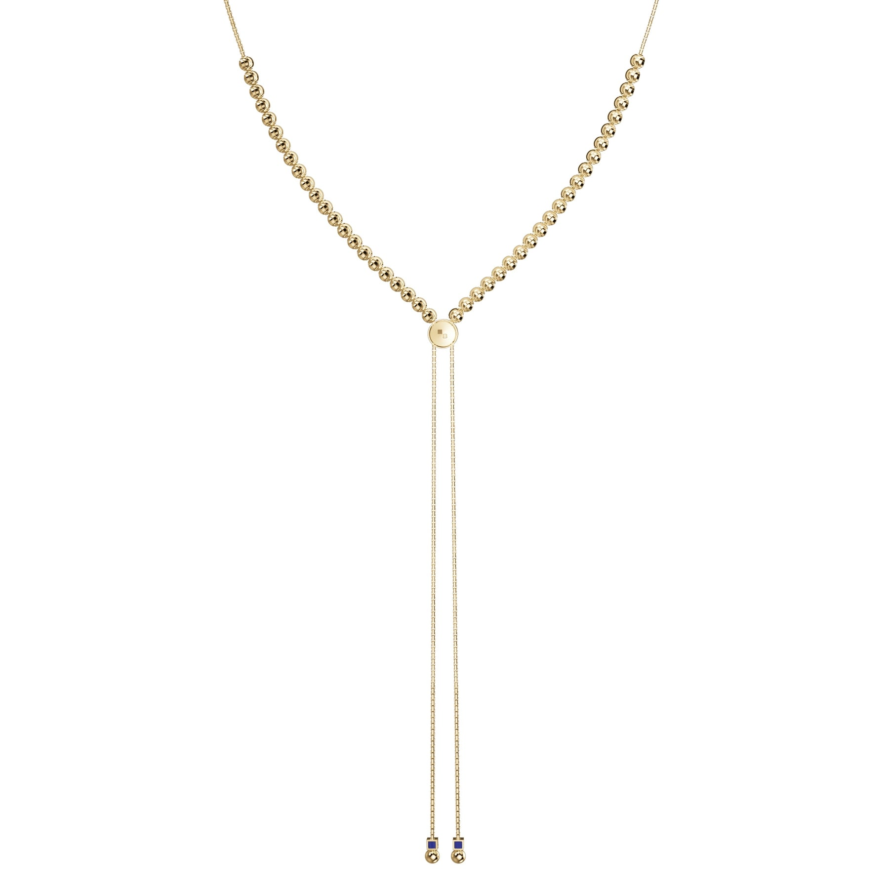 Y Style Adjustable Bead Necklace, Sterling with 18K Yellow Gold Plating