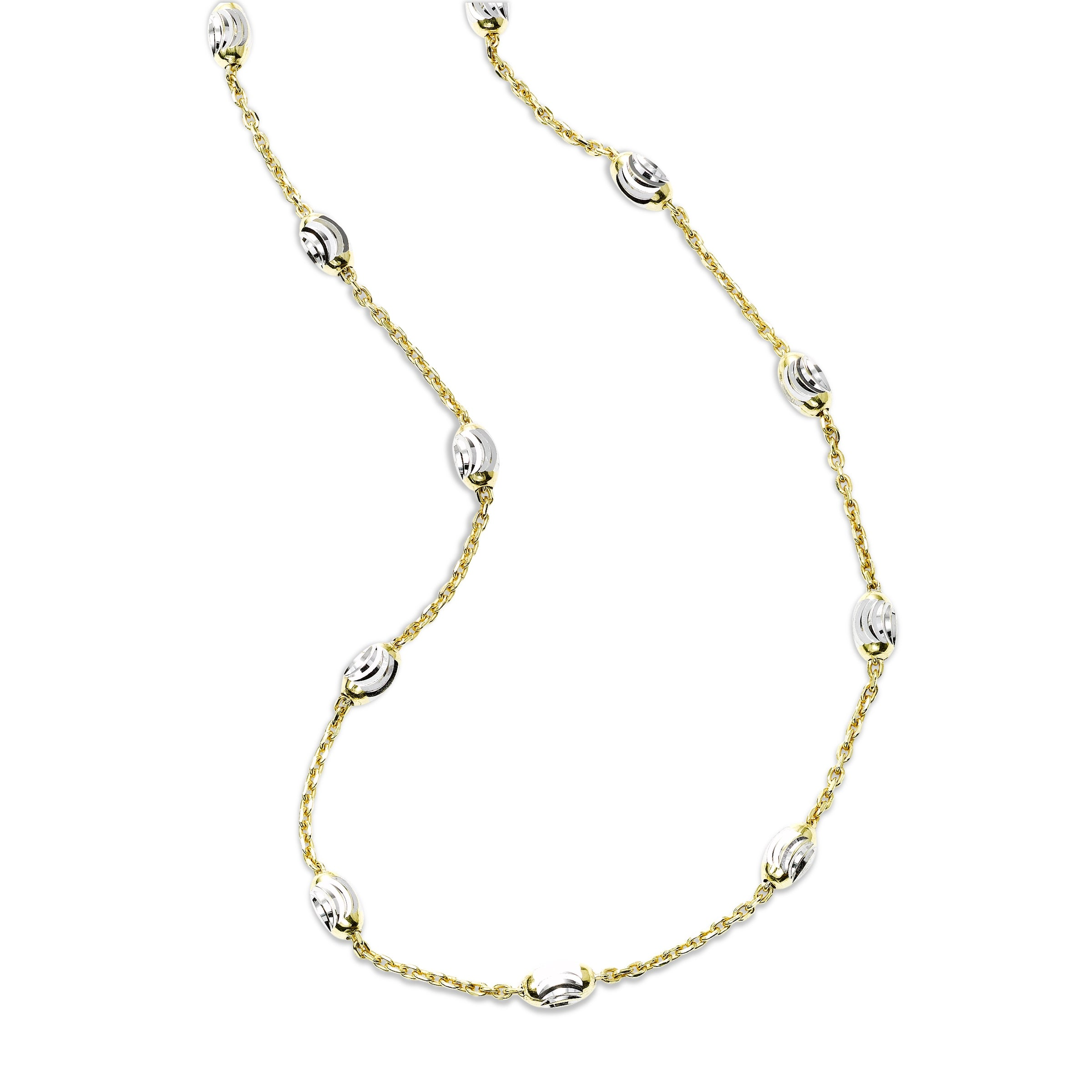 Faceted Bead Station Necklace, Sterling with 18K Yellow Gold Plating
