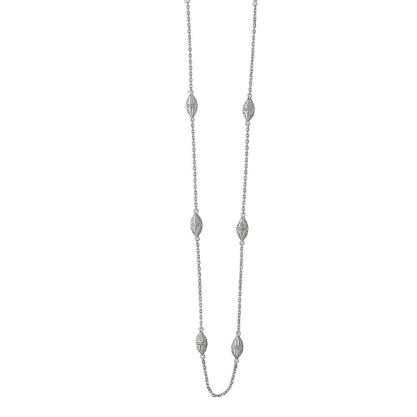 Marquise Design Station Necklace wtih Diamond Accents, 36  Inches, Sterling Silver