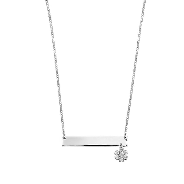 Engravable Bar with Dangling Flower Necklace, Sterling Silver