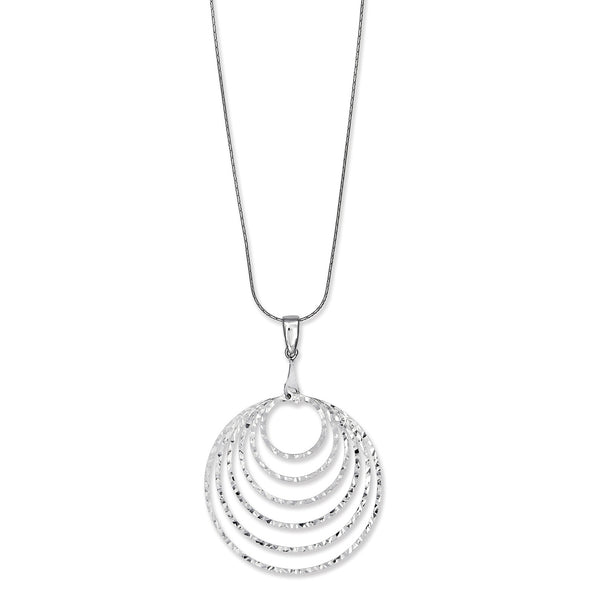 Diamond Cut Nested Circles Pendant, Sterling Silver