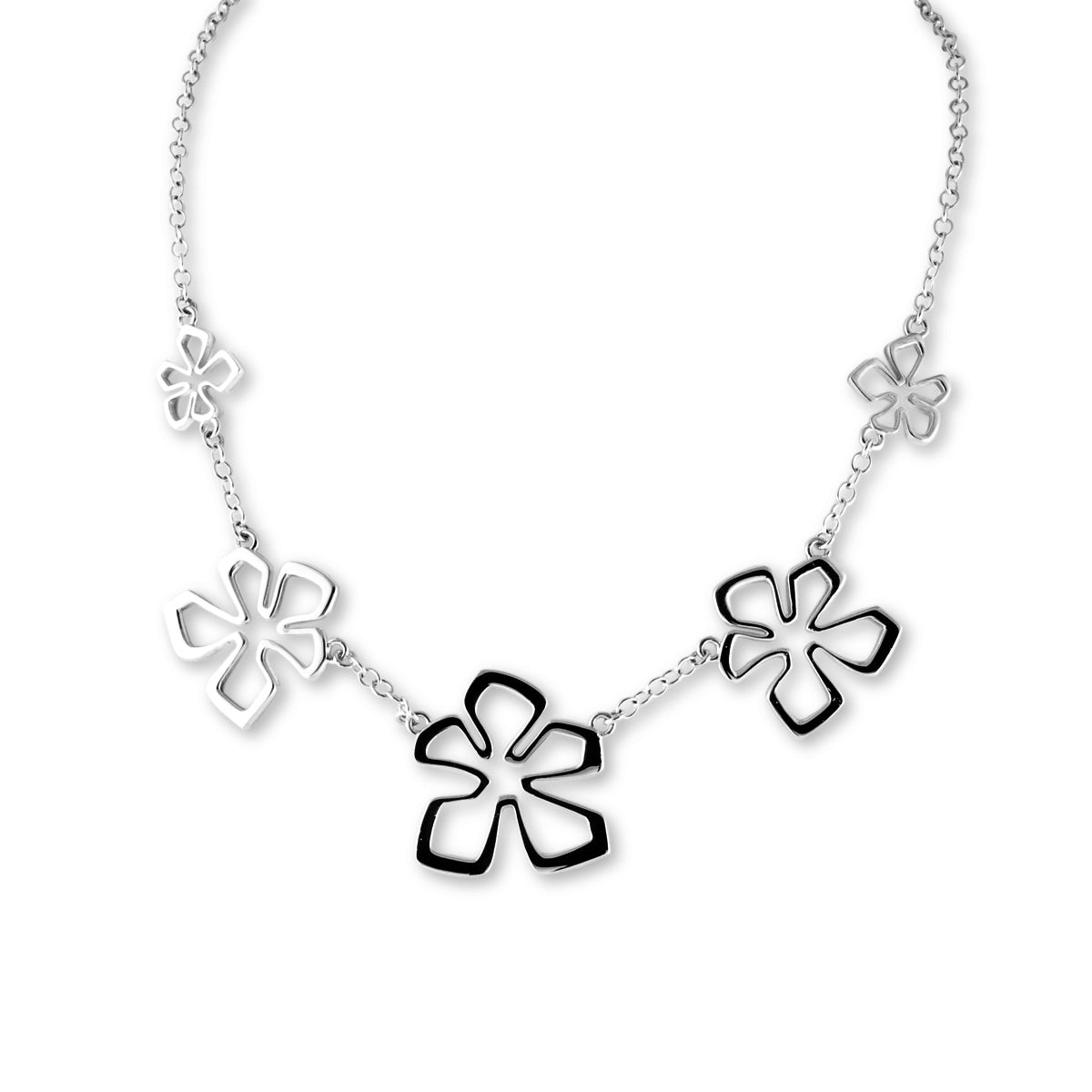 Tiki Flower Necklace, Sterling Silver