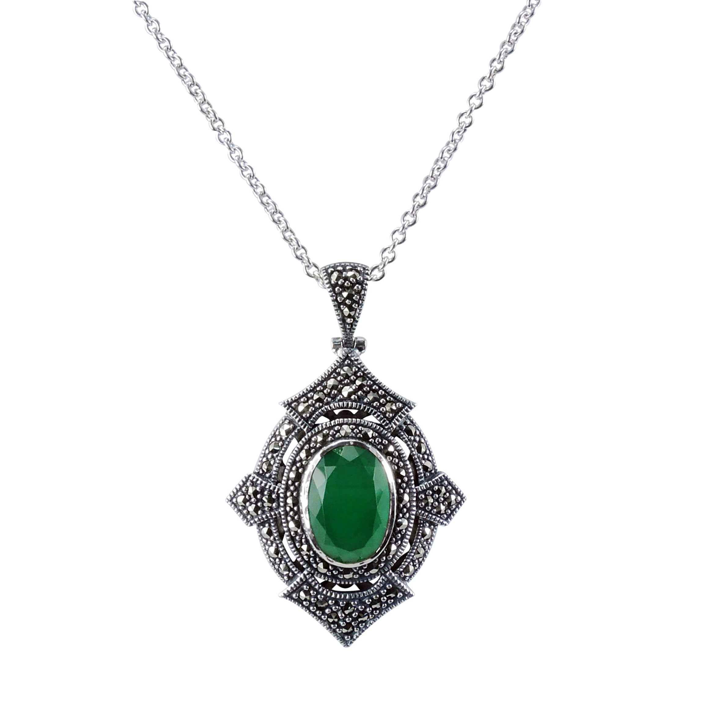 Green Agate and Marcasite Pendant, Sterling Silver