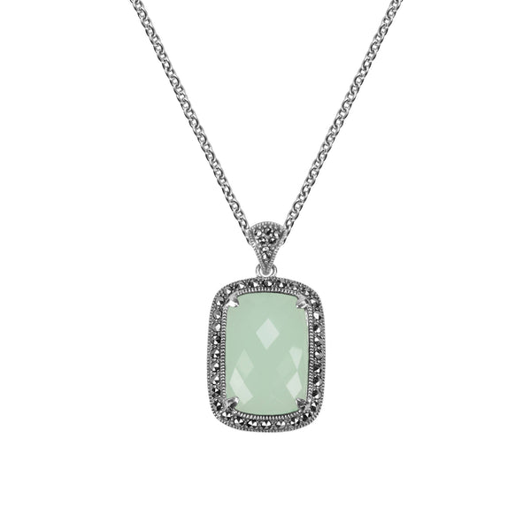 Apple Green Chalcedony and Marcasite Pendant, Sterling Silver