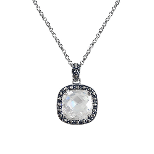 Cushion Shape CZ and Marcasite Pendant, Sterling Silver
