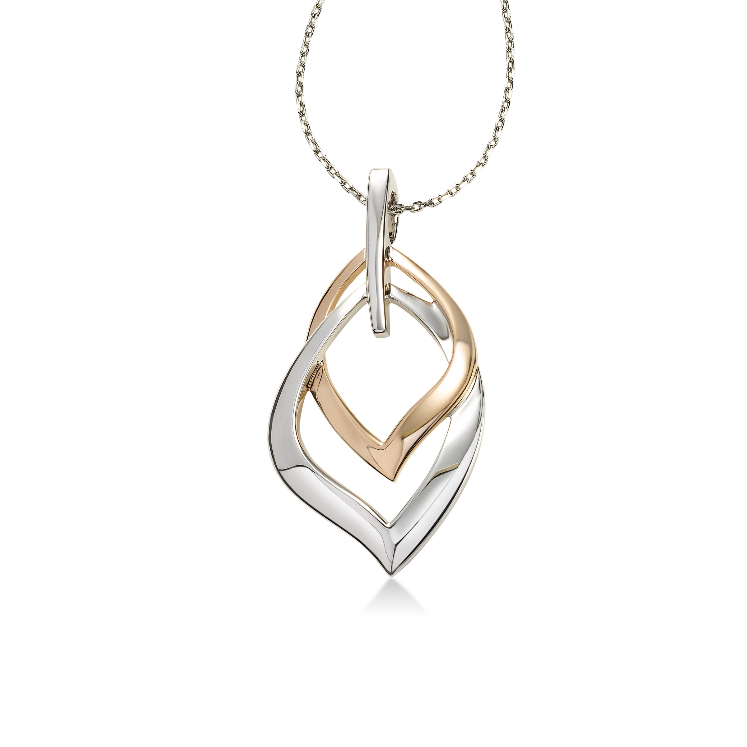 Two Tone Interlocking Link Pendant, Sterling Silver with Rose Gold Plating