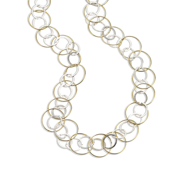 Two Tone Interlocking Circles Necklace, 28 Inches, Sterling Silver with Yellow Gold Plating