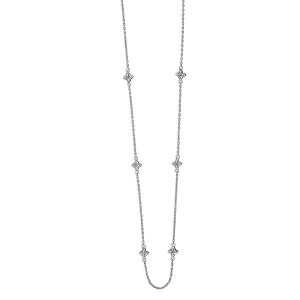 Flower Design Station Necklace wtih Diamond Accents, 36  Inches, Sterling Silver