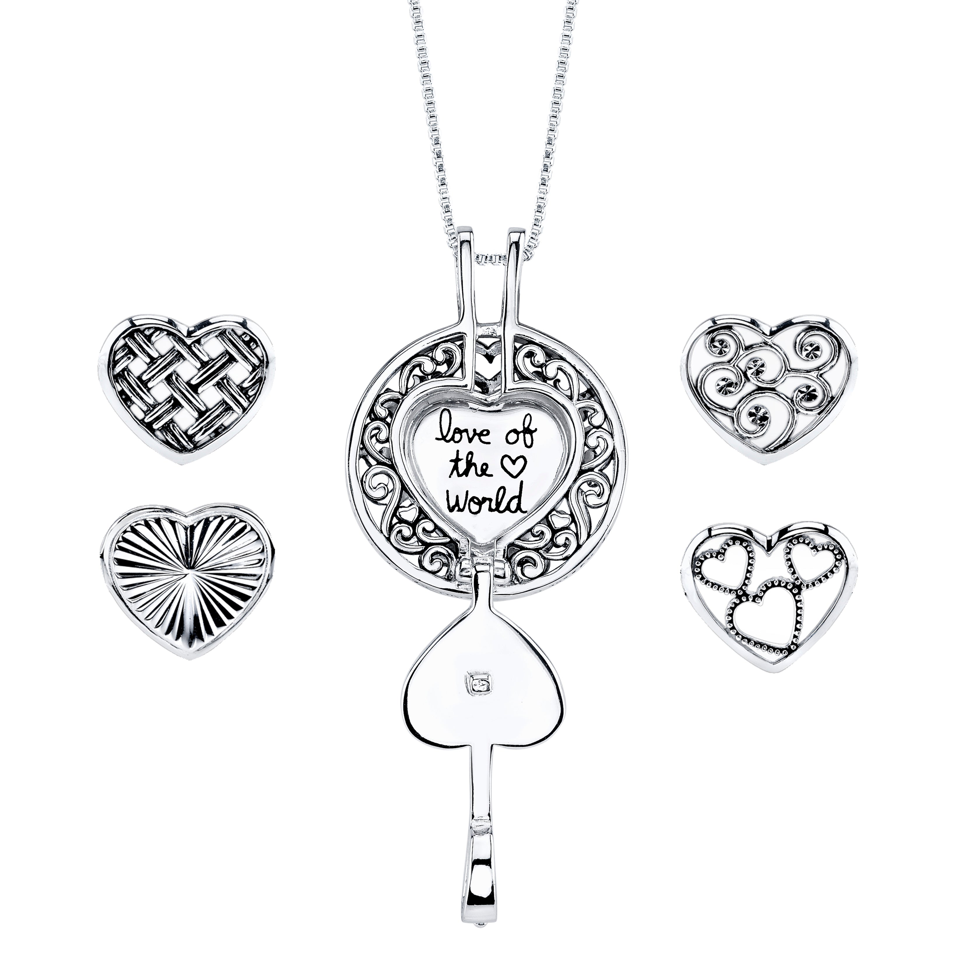 Textured Locket with Interchangeable Heart Inserts, Sterling Silver