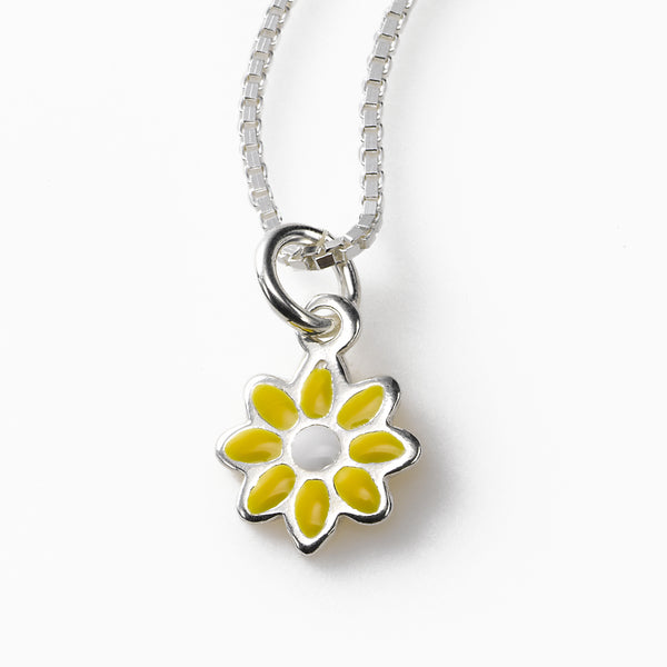 Childs Delicate Daisy Pendant, Sterling Silver