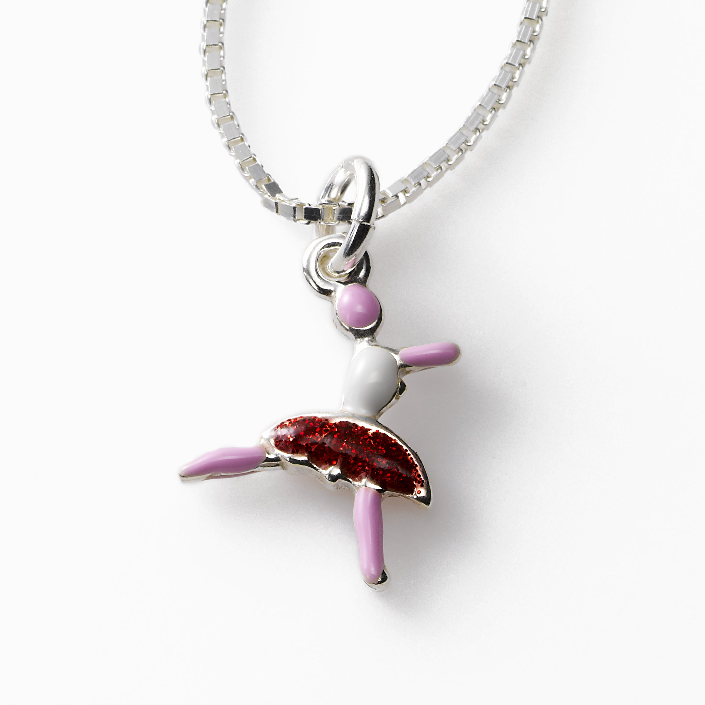 Ballerina Charm Necklace, Sterling Silver