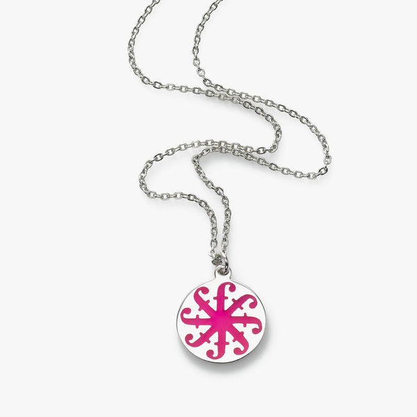 Pink Enamel Friendship is Forever Disc Pendant, 18 inch, Sterling Silver