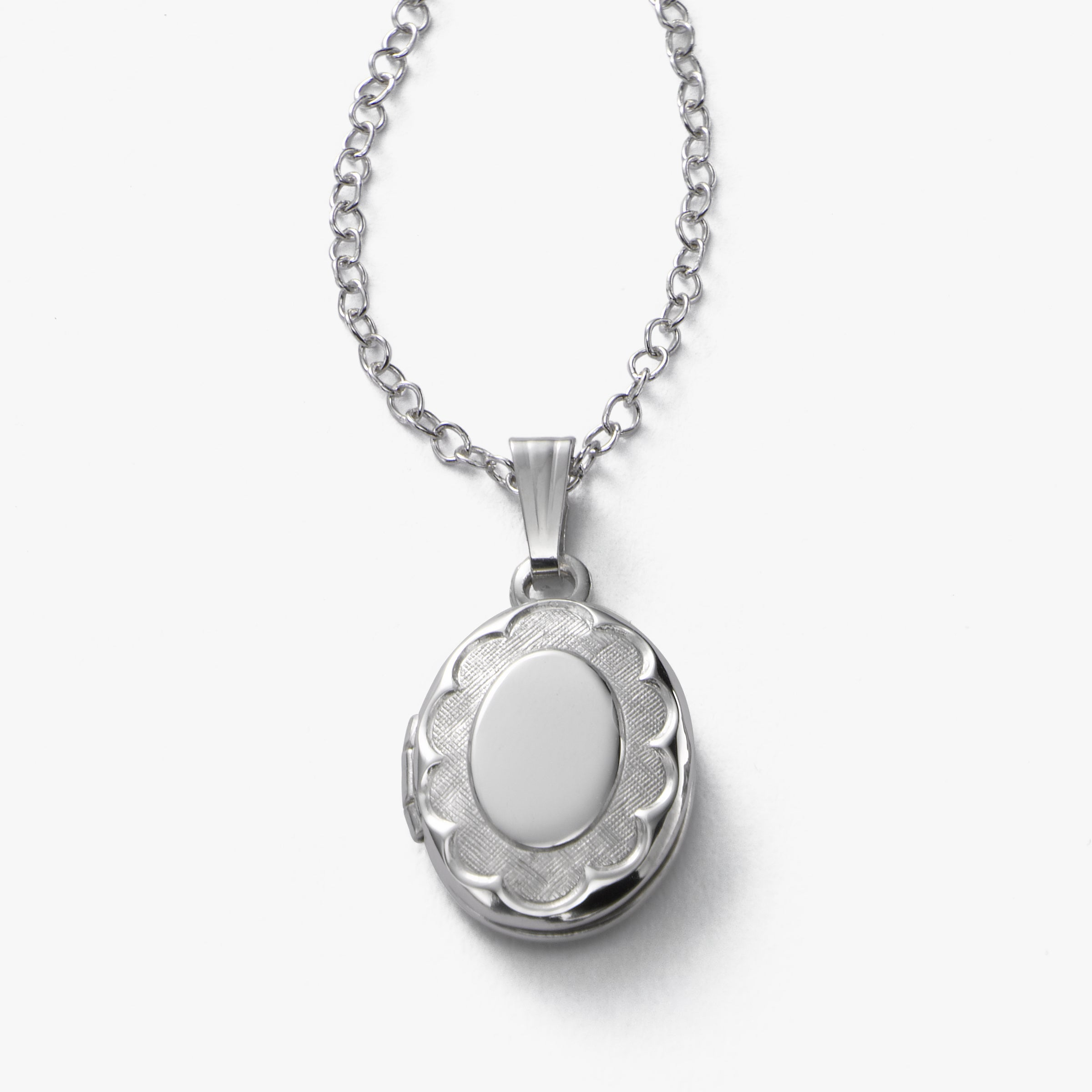 Small Oval Child's Locket, 15 Inch Chain, Sterling Silver
