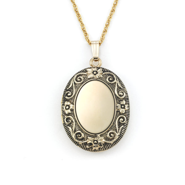 Large Floral Scrollwork Locket, Antiqued 14 Karat Gold Filled, 20 Inch Chain
