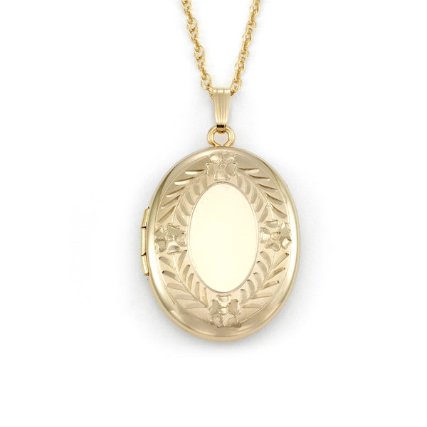 Large Oval Locket, 14 Karat Gold Filled, 20 Inch Rope Chain