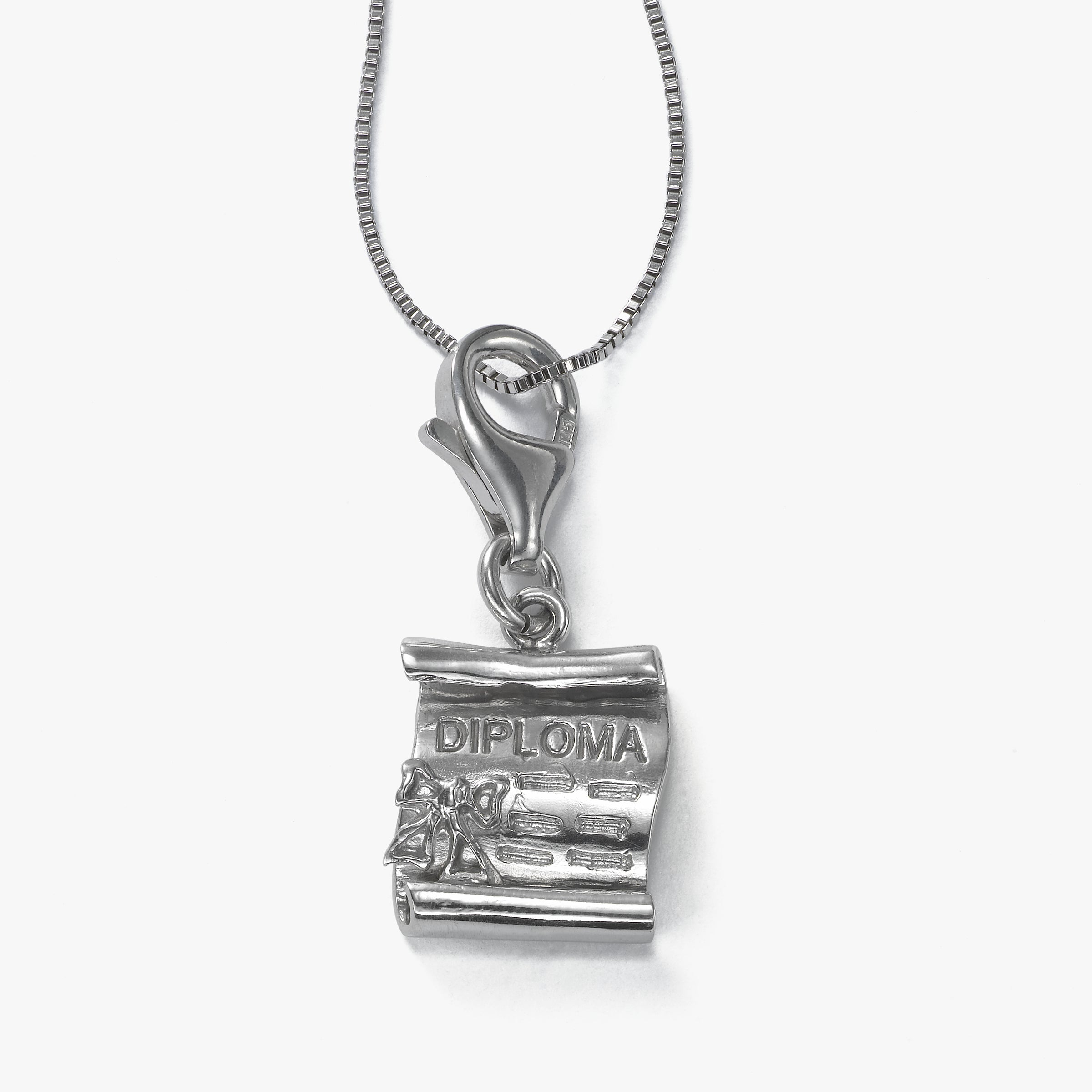 Graduation Diploma Charm, Sterling Silver