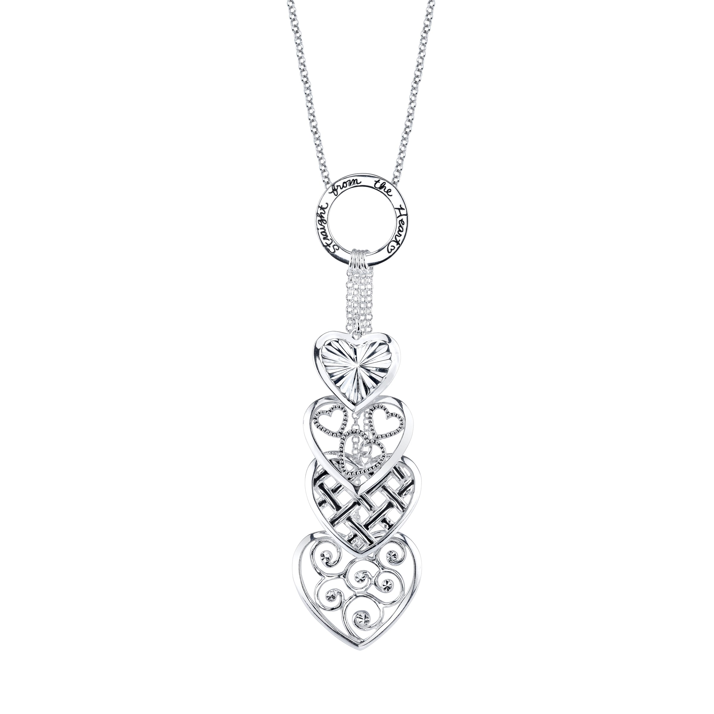 Four Charm Heart Necklace, Sterling Silver