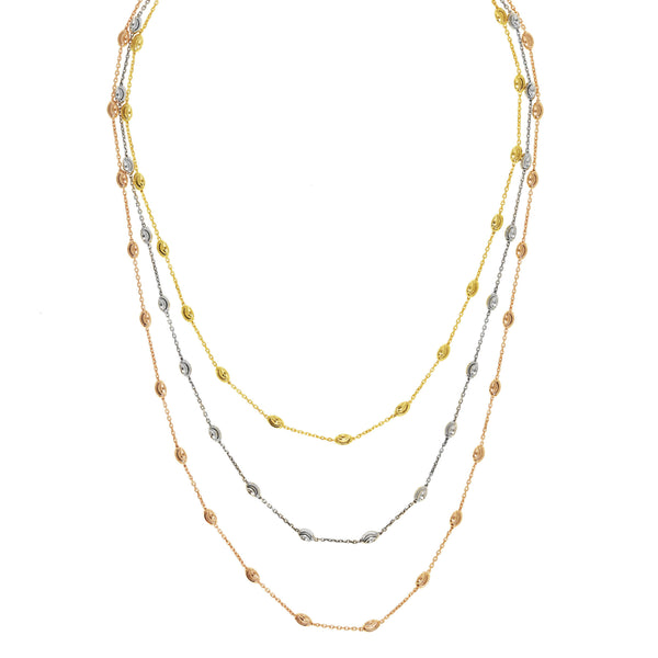 Tricolor Three Strand Station  Necklace, Sterling Silver