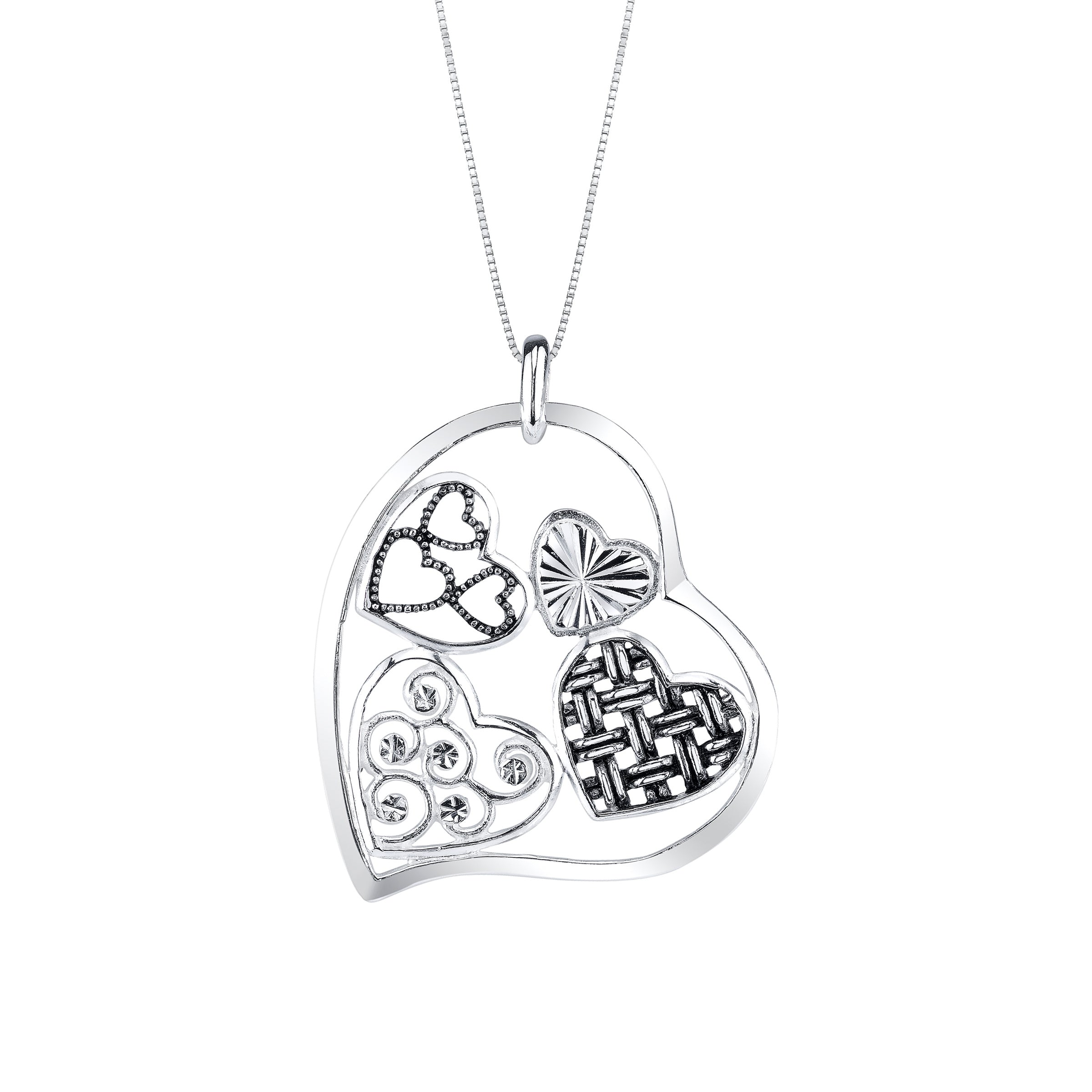 Hearts Within Pendant, Sterling Silver
