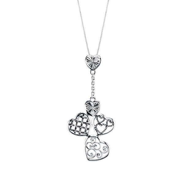 Dangling Heart Cluster Necklace, Sterling Silver