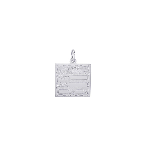Birth Certificate Charm, Sterling Silver