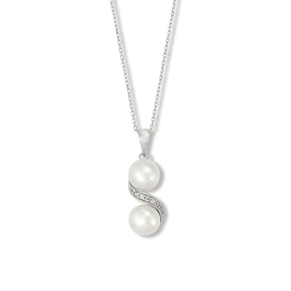 Double Pearl and White Topaz Pendant, Sterling Silver
