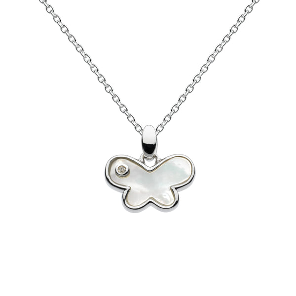 Mother of Pearl Butterfly Pendant with Diamond Accent, Sterling Silver