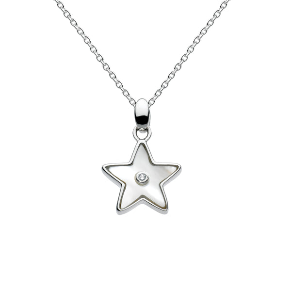 Mother of Pearl Star Pendant with Diamond Accent, Sterling Silver