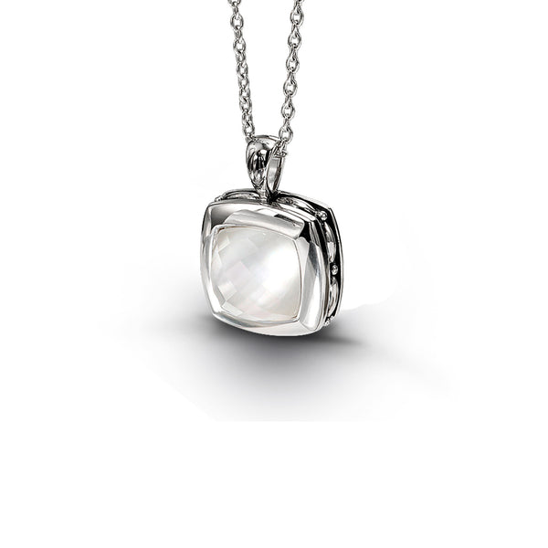 Mother of Pearl and White Quartz Pendant, Sterling Silver