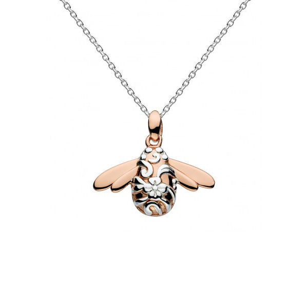 Bumble Bee Pendant, Sterling Silver with 18K Rose Gold Plating