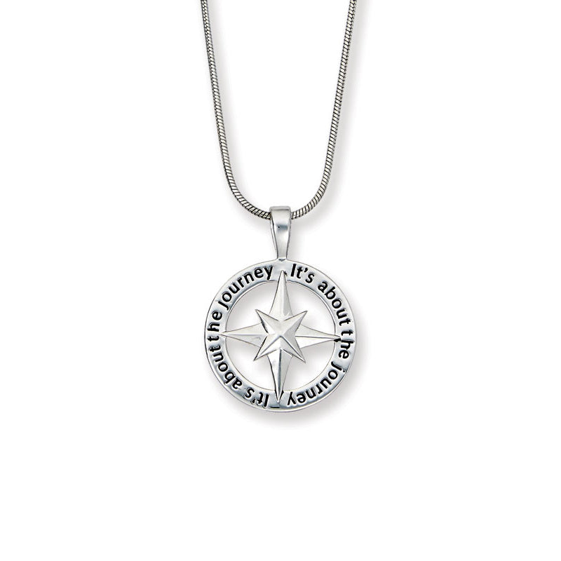 Inspirational Compass Pendant, Sterling Silver