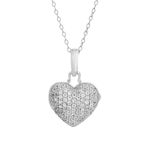 Pavé White Topaz Rounded Heart Locket, Sterling Silver