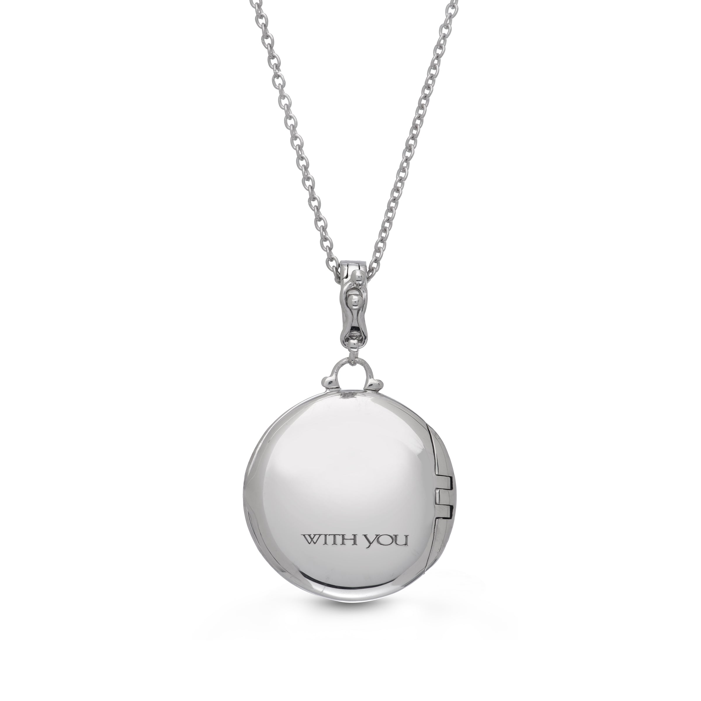 Vintage Style Round Locket with Diamonds, Sterling Silver
