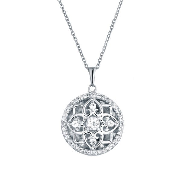 Vintage Style Round Locket with White Topaz, Sterling Silver