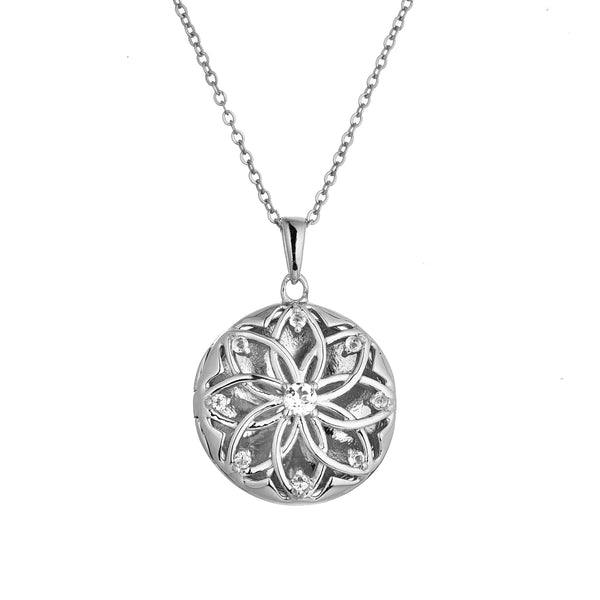 Floral Inspired Locket with White Topaz, Sterling Silver