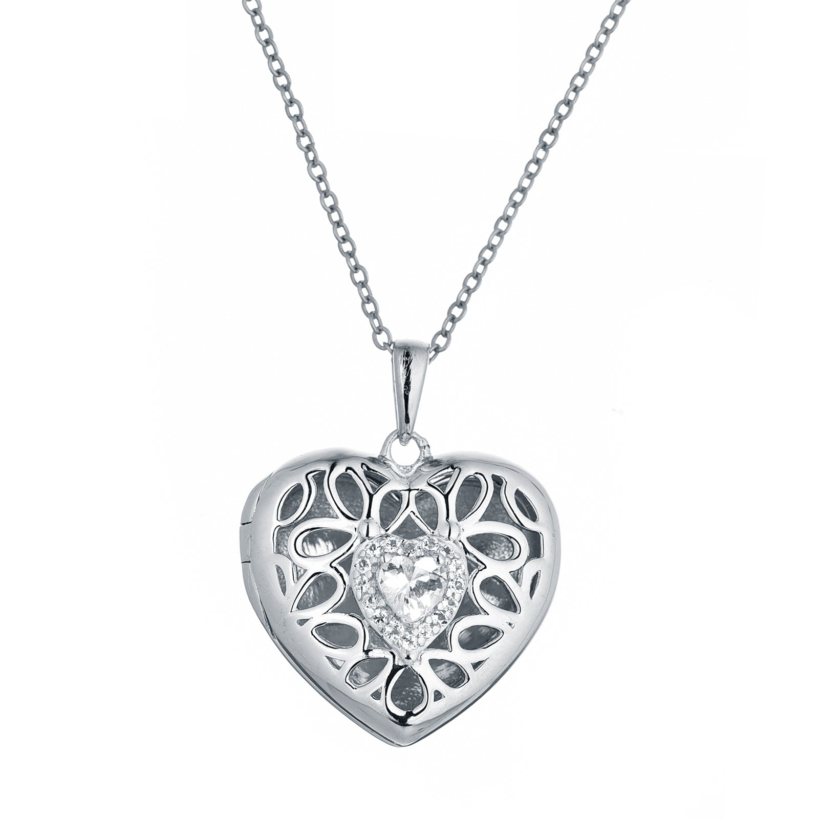 Heart Locket with White Topaz, Sterling Silver