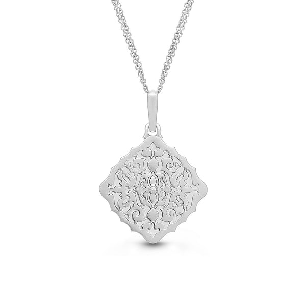 Square Open Locket with Diamond Accent, Sterling Silver